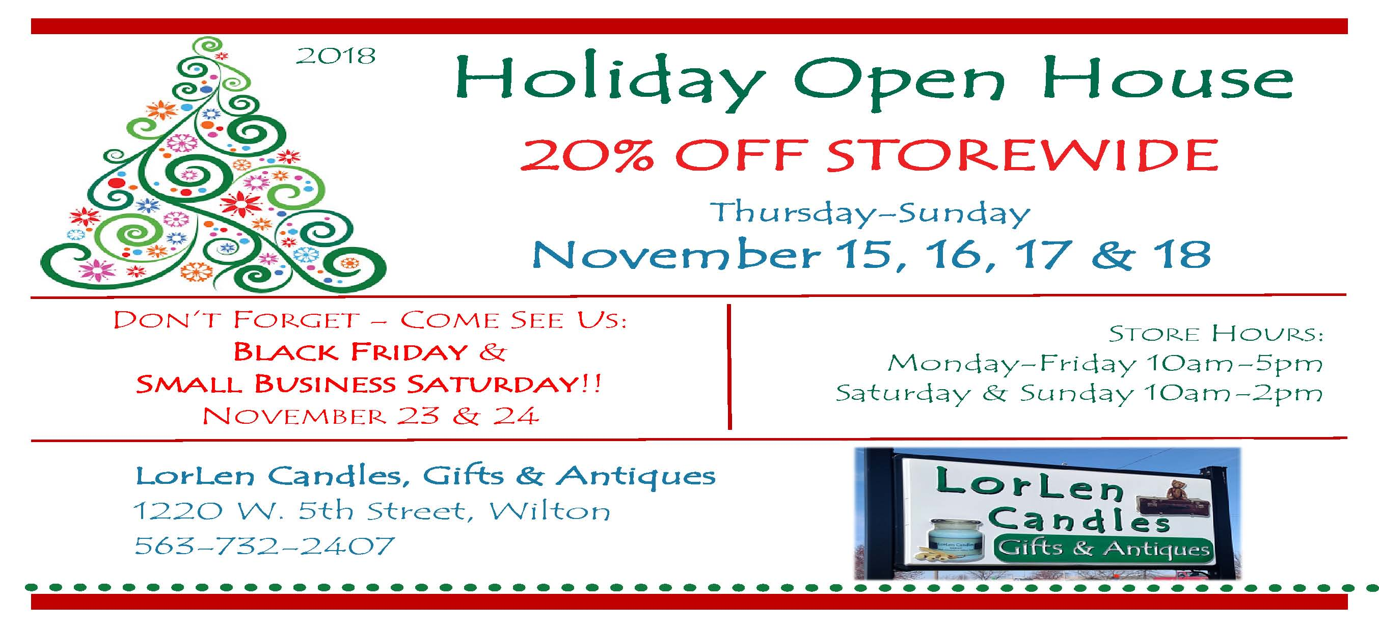 LorLen Candles Holiday Open House - Nov 15, 16, 17 & 18